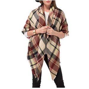 Large Tartan Plaid Blanket Cozy Fall Scarf